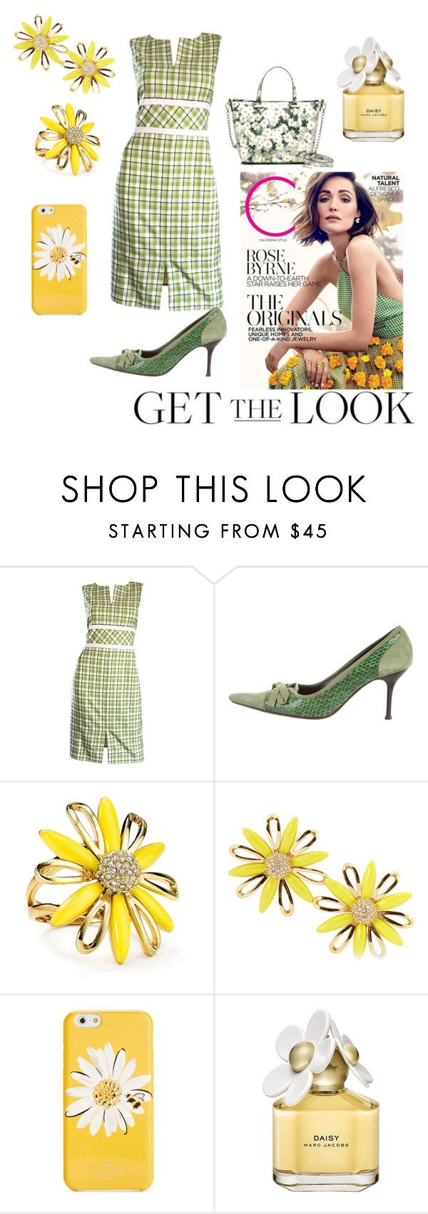 """Rose Byrne Green Checked Dress"" by mel-c-n on Polyvore featuring Oscar de la Renta, Dolce&Gabbana, Kate Spade, Marc Jacobs, GetTheLook, polyvorecontest and rosebyrne"