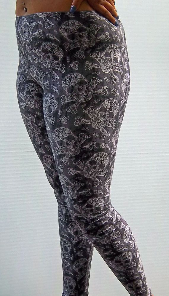 Swirly Skull Printed Leggings Yoga Pants Running by nanmadetoo