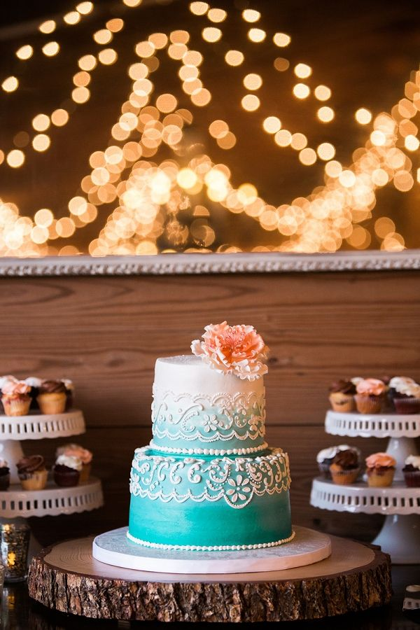 Tiffany Blue Ombre Wedding Cake for a Rustic Dessert Display | Jillian Joseph Photography on @artfullywed via @aislesociety