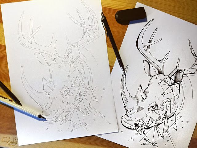illustration by #dushky | #art #illustration #drawing #tattoo #design #animal #geometric #rhyno #deer