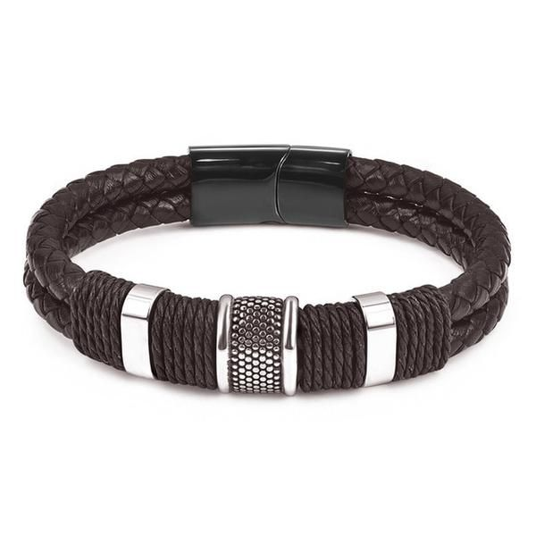 Geminis Fashion Jewelry Mens Triple Woven Leather Bracelet Color Reddish Brown