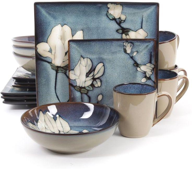 Contemporary Dinnerware Bloomsbury Blue Flower Set 16 Piece Dishwasher Safe #GibsonElite #Dinnerware #Kitchen #Plates #Set