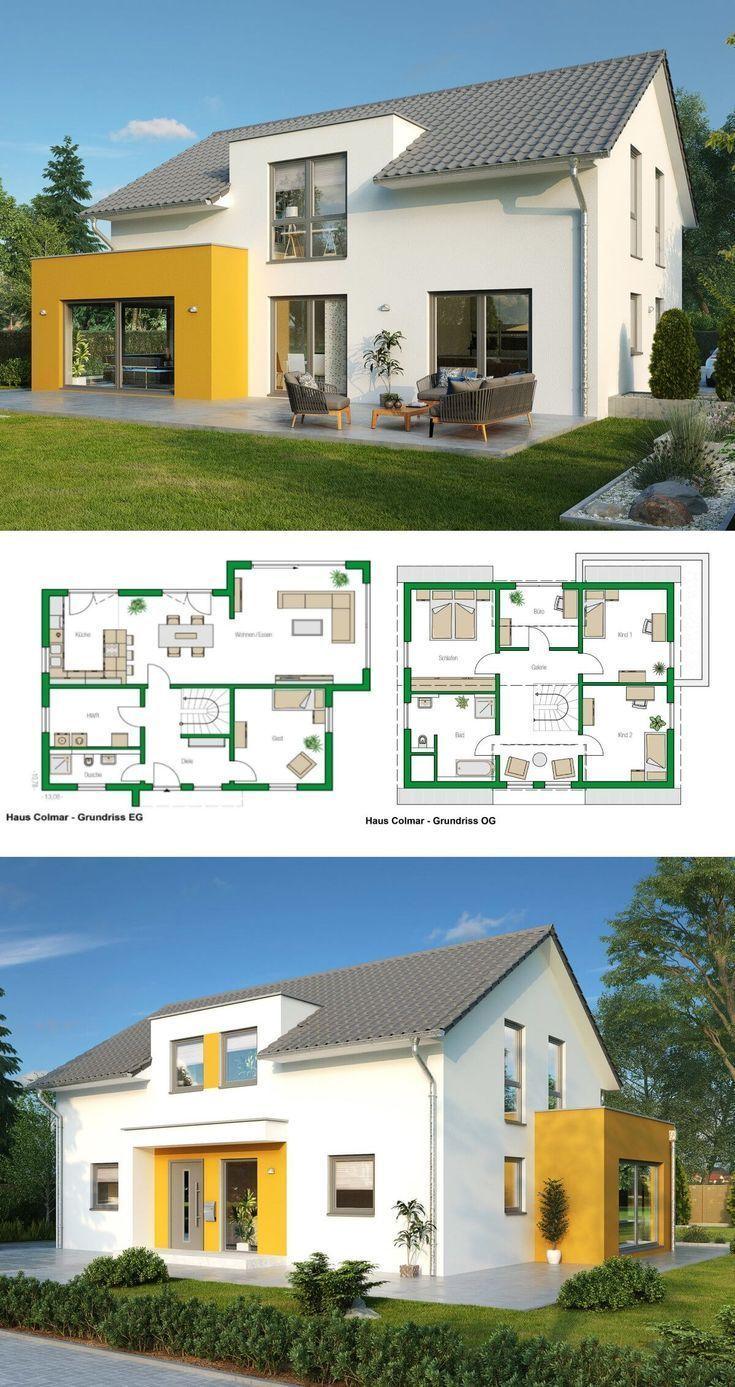 Single Family House Modern Architecture With Pitched Roof Bay Window Extension Maison Indi Plan Maison Moderne Plan Architecture Maison Plan Maison