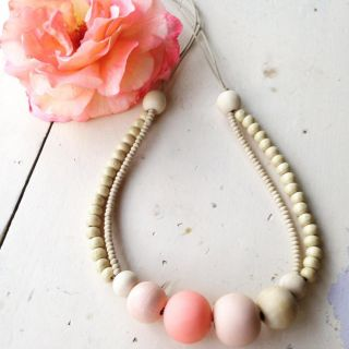 Our+Peachy+beads+are+the+new+to+the+B&B+range.+Combining+handmade+clay+and+natural+wooden+beads+this+stunning+piece+is+a+stand+out.+(Limited+Edition)+Strung+on+waxed+cotton+cord,+adjustable.+Cord+approx+60cm+in+length.