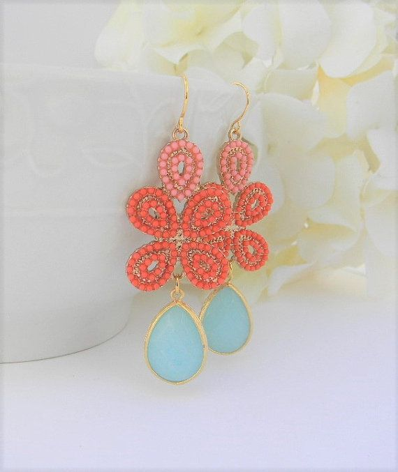 Gold-Anweisung Ohrringe mit Koralle und Aqua Juwelen - Korallen Ohrringe - Ohrringe - Ohrhänger Ohrringe - Orange und Minze Ohrringe
