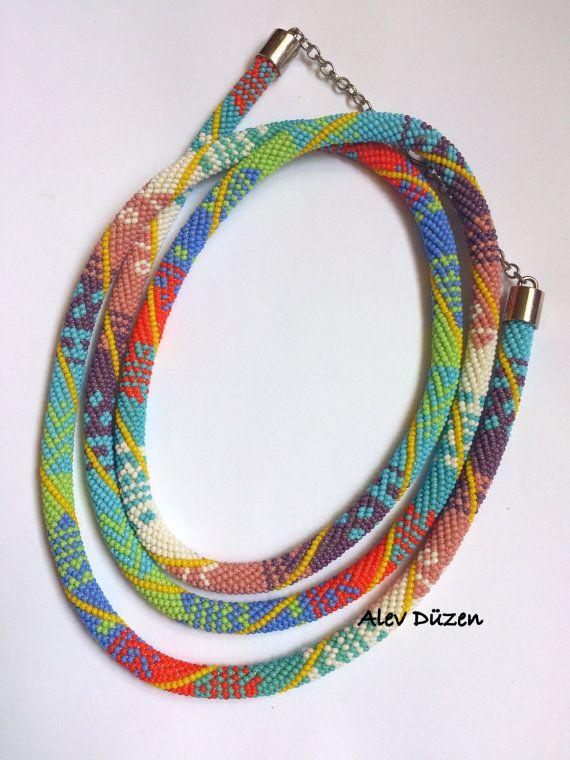 Extra Long Bead Crochet Necklace Long Summer Beaded by alevduzen, $137.00