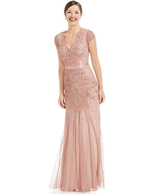 Bridesmaid.  Would like it better as tank/ halter.    Adrianna Papell Cap-Sleeve Embellished Gown