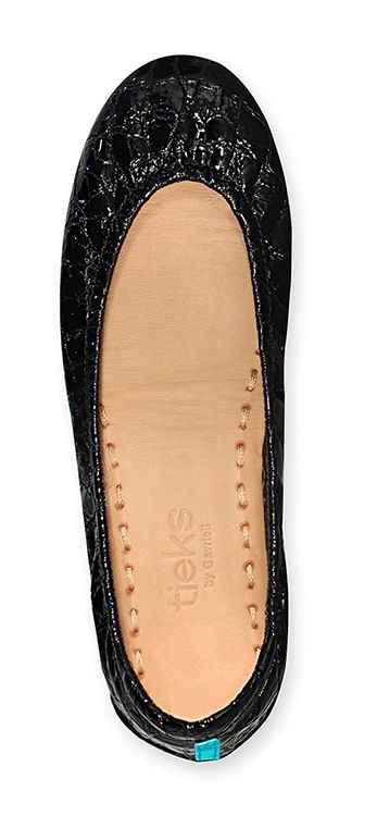 Italian Leather Ballet Flat | Obsidian Black Tieks
