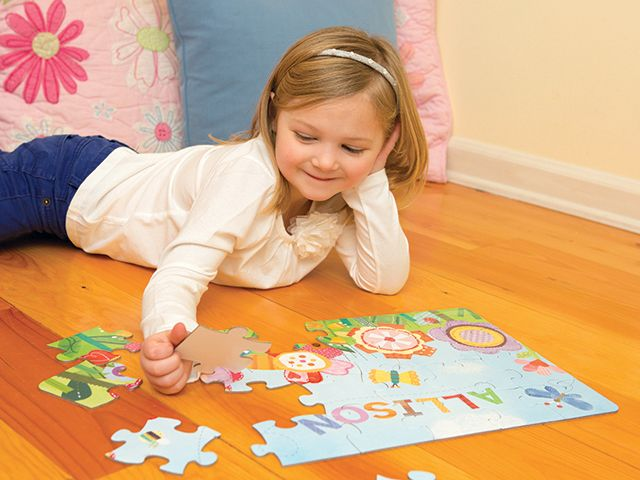 """18"""" x 12"""" puzzle comes personalized with your child's name. These beautifully illustrated, high quality puzzles are a great way to develop cognitive skills, problem solving, fine motor skills, hand-eye coordination and self-esteem. Your child will delight in putting together the 24 pieces and seeing his or her very own name!"""