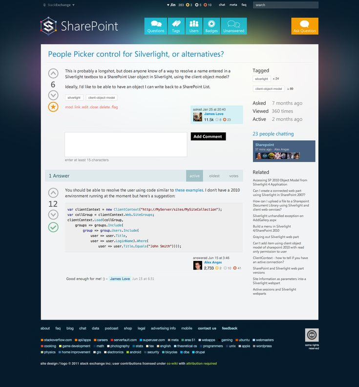 SharePoint.SE Question Page Design for StackOverflow