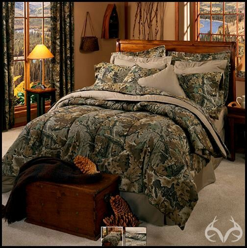 Camo bedding Check!  need a tan comforter under the camo with tan sheeets and camo blanket. need throw pillows