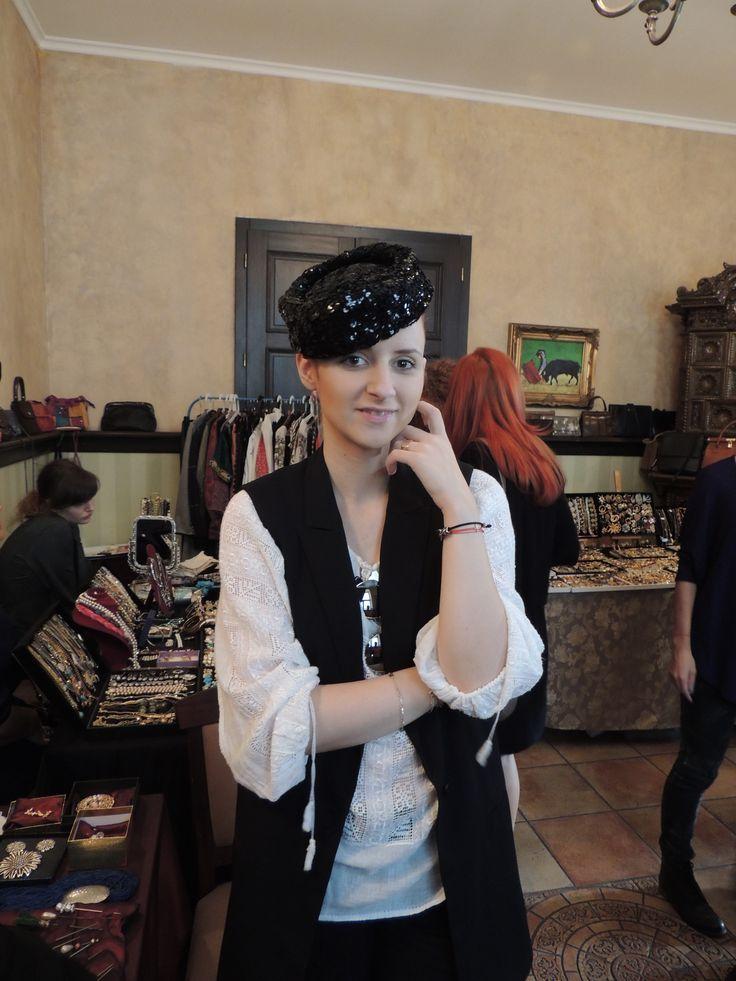 Vintage sequin hat & Romanian folk blouse