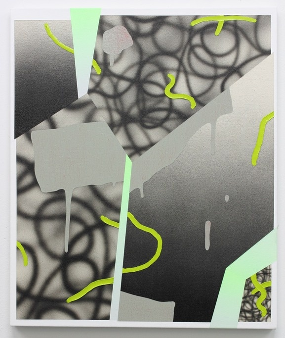 """Josh Reames, """"refraction (grey)""""     20""""x24"""" oil and acrylic on canvas      2012"""