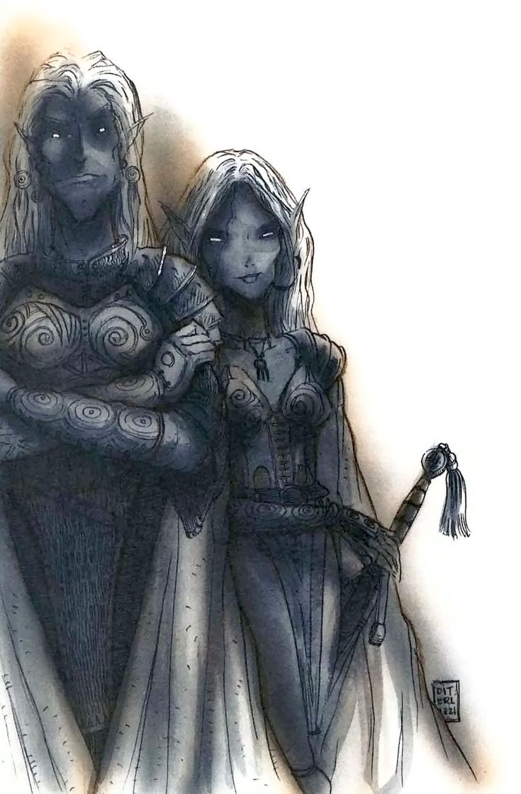 d&d dark elf elfo scuro Una coppia di Drow Ysgardiani - by Tony Diterlizzi Planes of Chaos, The Book of Chaos (1994-07) © Wizards of the Coast & Hasbro