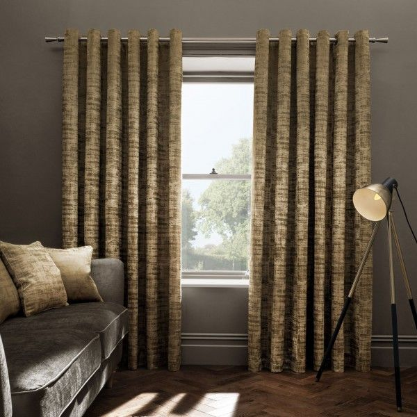 Naples Lined Ready Made Eyelet Ring Top Velvet Curtains by Studio G | www.365curtains.com
