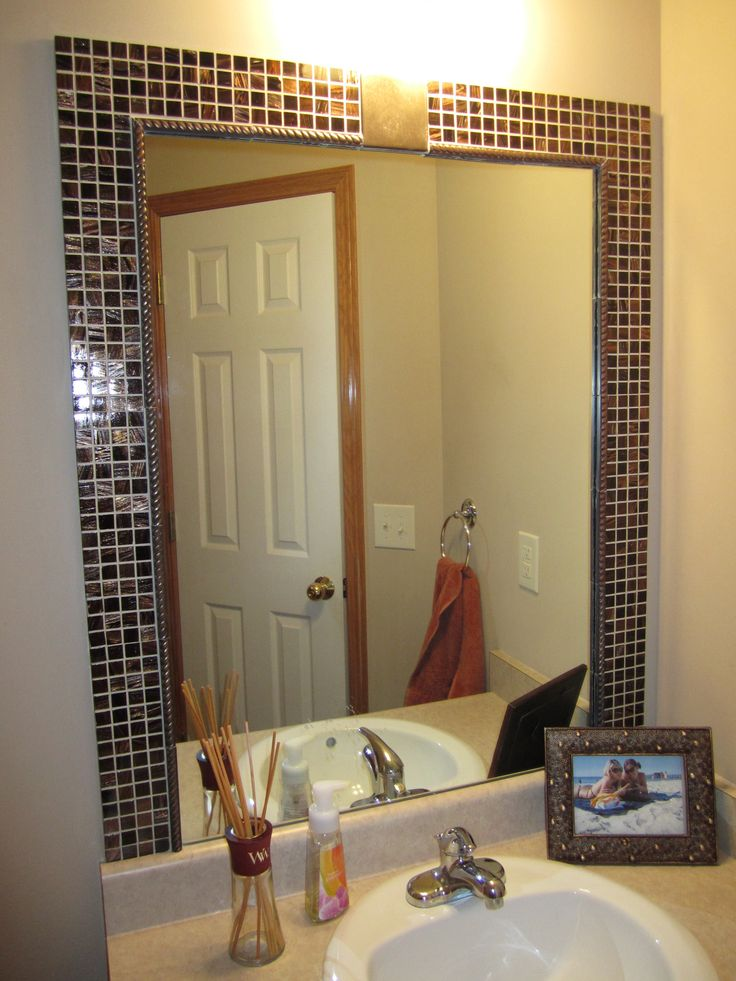 Find This Pin And More On Mirror Framing Ideas Attractive Accent Tile Frame For Bathroom
