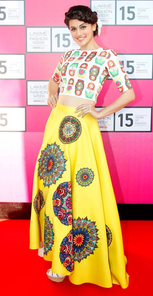 Taapsee Pannu flaunts a creation by designer Neha Agarwal at the Lakmé Fashion Week curtain-raiser.