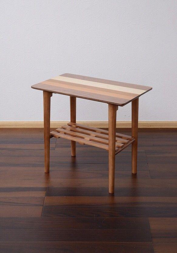 Nordic(北欧調)天然木サイドテーブル W55…