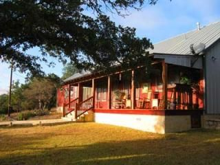 "Rancho Romantica sits on 5 wildlife preserved acres in the stunning Texas Hill Country and only 8 minutes from downtown Fredericksburg.   The property offers huge OUTDOOR KITCHEN & PAVILION, FIRE PIT, HOT TUB / SPA,  40"" LCD TV, FIREPLACE, KING sized beds, XBOX, & wireless internet (Wi-Fi).   The property is made up of a primary ranch house (Casa Grande) and a guest house (Casita). The properties can rent together and can accommodate up to  a group of 10. For larger groups, properties…"