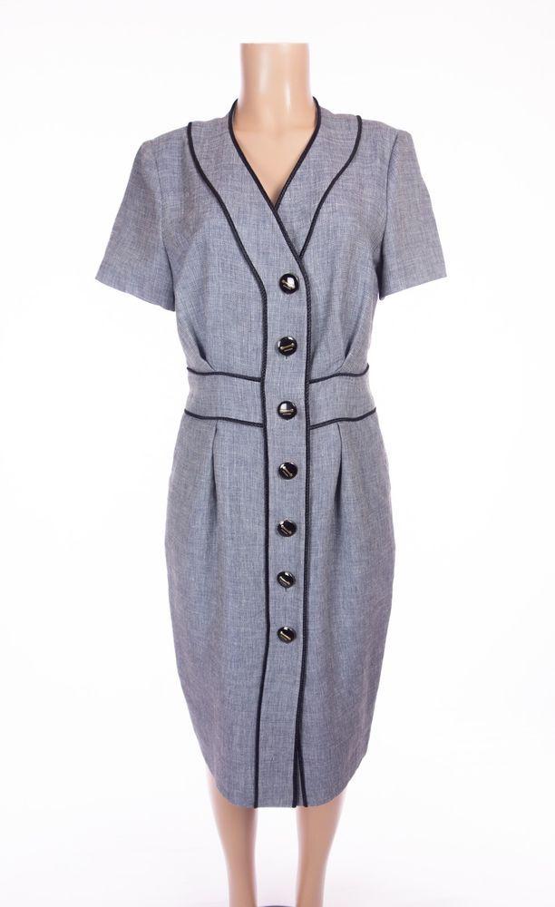 ESCADA Chambray Weave Dress L Blue White Linen Wool SS Full Button Front Work #ESCADA #ShiftDress