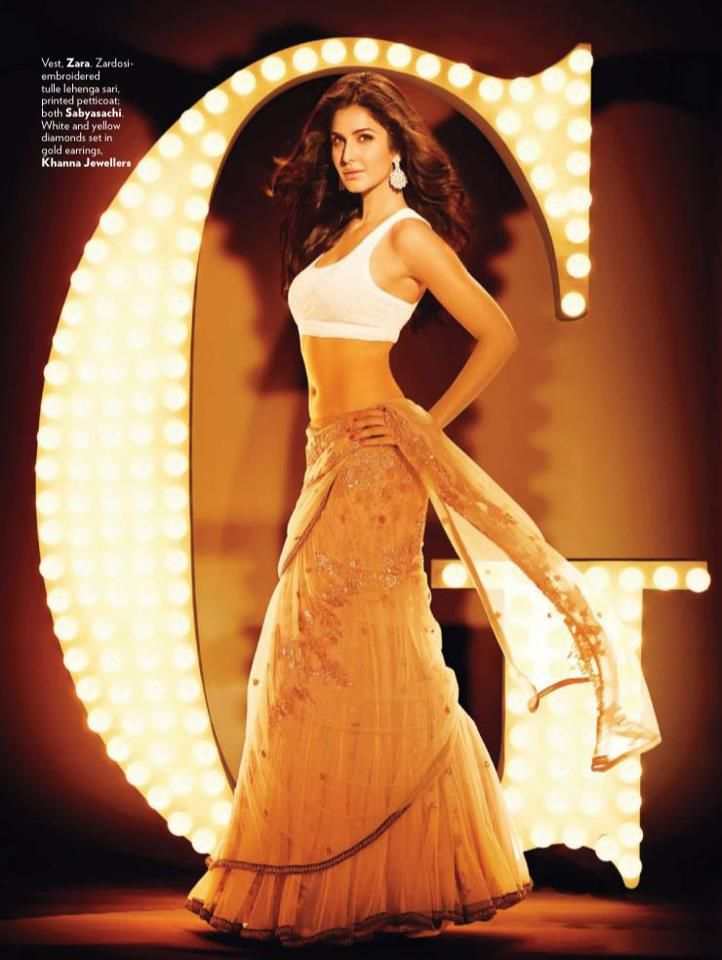 Katrina Kaif in Lehenga Sari/Printed Petticoat by Sabyasachi - Vogue India October 2012
