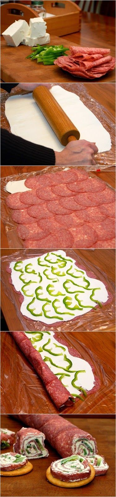 Salami and Cream Cheese Roll-ups or use pepperoni and spinach