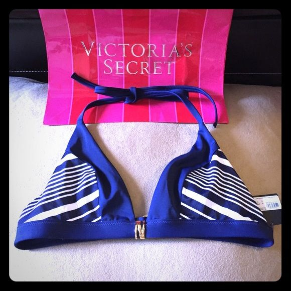 VS BLUE WHITE NAUTICAL STRIPE TRIANGLE BIKINI TOP BIKINI SEASON IS UPON US! Brand new with tags! Gorgeous top from VS. Please check out my other Victoria's Secret listings. Thank you Victoria's Secret Swim Bikinis