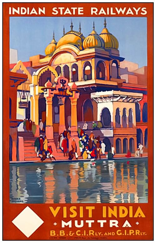 Vintage Travel Poster by Roger Broders:  Muttra, India
