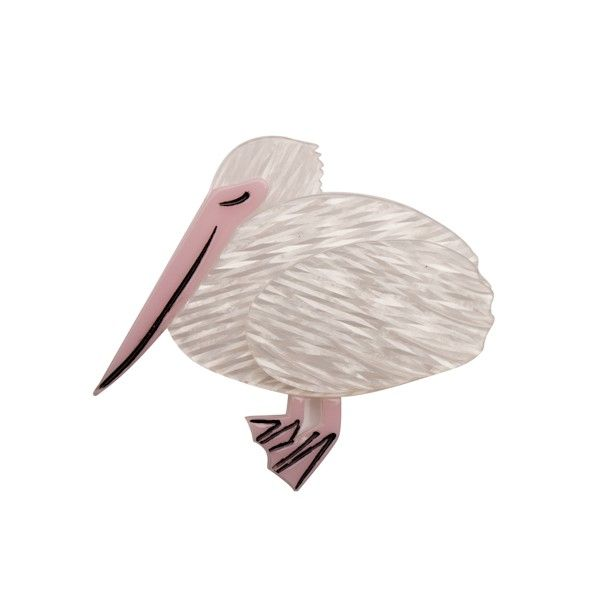 """Limited Edition Prudence the Pelican resin brooch in white (By the Seaside Collection - Autun 2015). """"Prudence knows that when it comes to filling her belly with fish patience is definitely a virtue."""""""