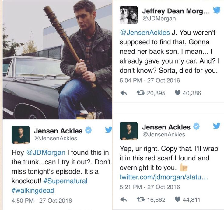 Jensen Ackles from #supernatural trolls Jeffrey Dean Morgan from #walkingdead and formerly #supernatural. And then he trolls right back