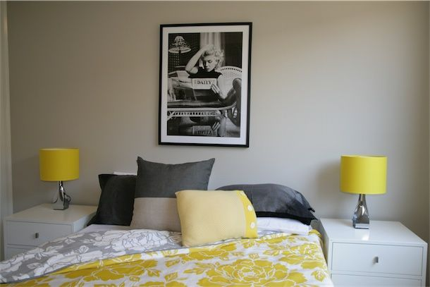 Design Art House styled bedroom with yellow accents.