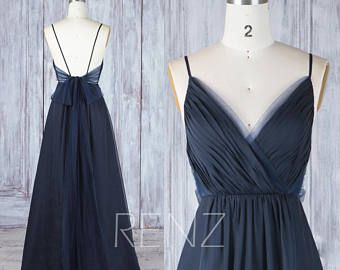 Bridesmaid Dress Cream Chiffon Dress, Wedding Dress, Spaghetti Strap Evening Dress, Ruched V Neck Backless Prom Dress, A-line Maxi Dress (L290)