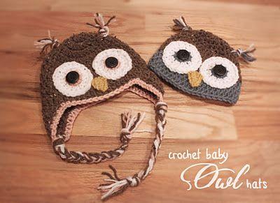 Crochet Owl Hats for Kids