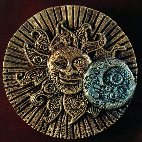 Garden Sun Stone Art Sculpture Eclectic Eclipse Outdoor Wall