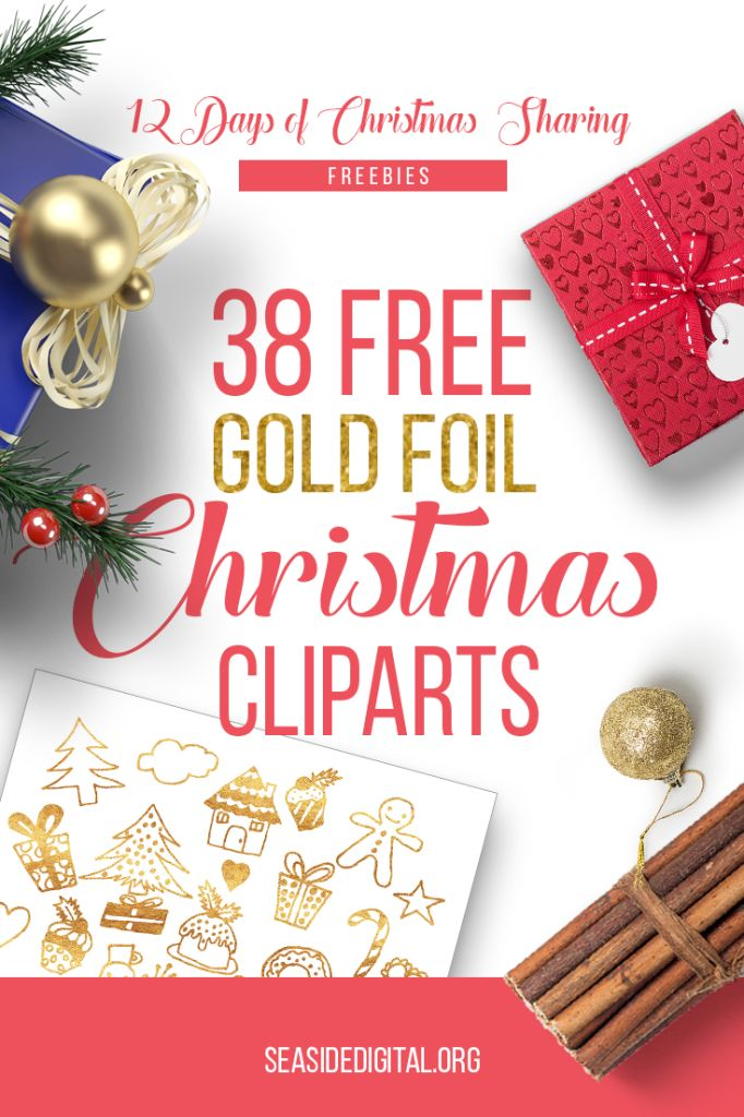 12 Days of Christmas sharing - free gold foil Christmas clip art