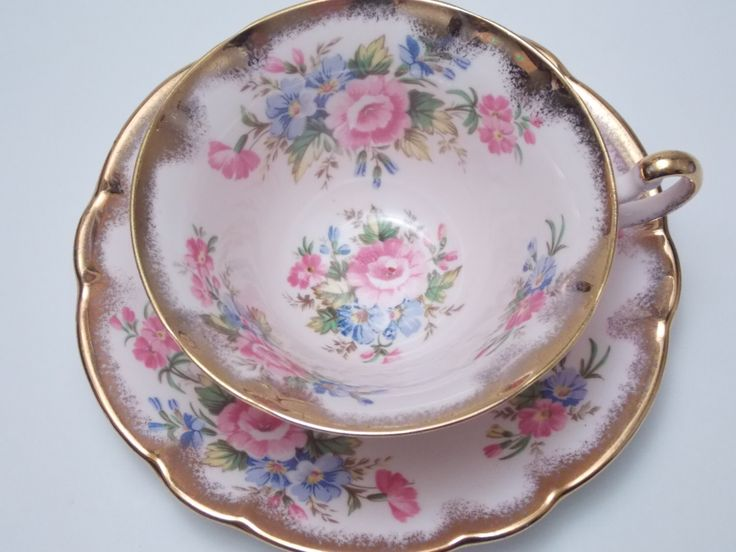 Foley Floral Sprays Flowers Heavy Gold Brushed Trim Pink Tea Cup and Saucer Vintage Fine Bone China Made in England by TheVintageFind1 on Etsy https://www.etsy.com/au/listing/293037797/foley-floral-sprays-flowers-heavy-gold