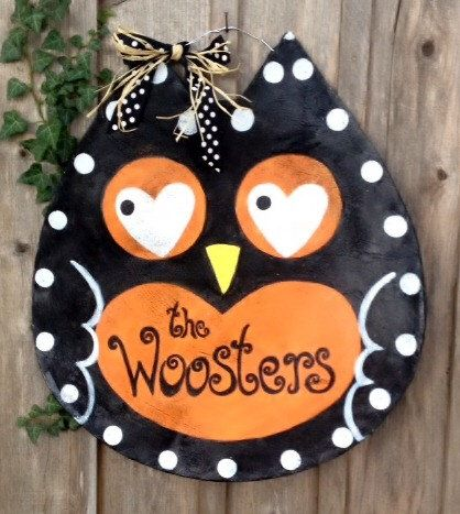 A personal favorite from my Etsy shop https://www.etsy.com/listing/107507269/screen-fall-halloween-owl-door-hanger