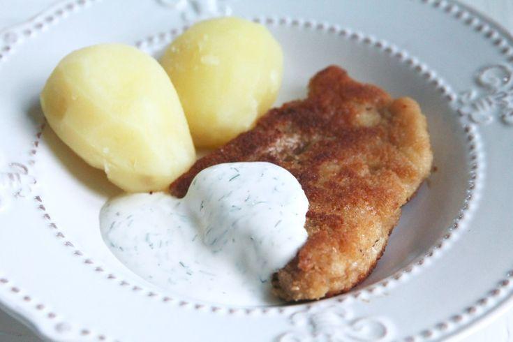 Panerad torsk med kokt potatis