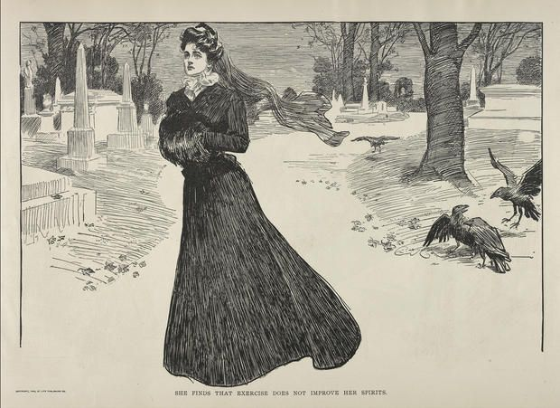 "A new exhibition at The Metropolitan Museum of Art in New York will showcase the macabre history of mourning clothes.   The exhibition, ""Death Becomes Her: A Century of Mourning Attire,"" will feature dresses, veils and accessories worn by widows from 1815-1915, illustrating a period when women were expected to mourn within a strict set of social guidelines, down to the fabric of their clothing."