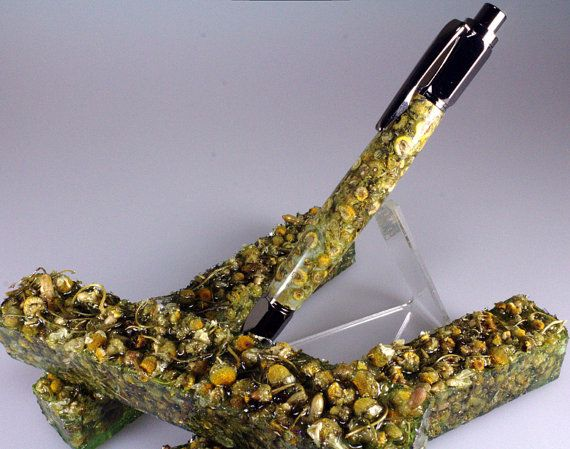 Resin Cast Pen Blank Botanical Potpourri Grade Camomile Flowers