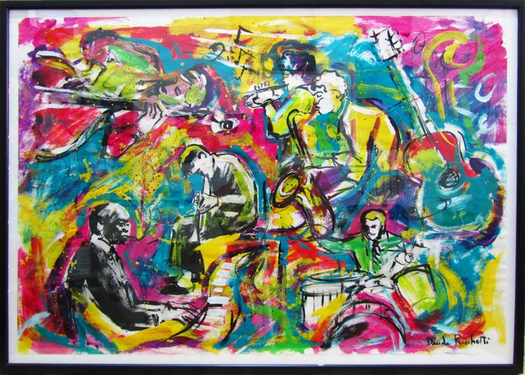 "Davide Ricchetti : ""Jazz n 8"", acrylic on paper."