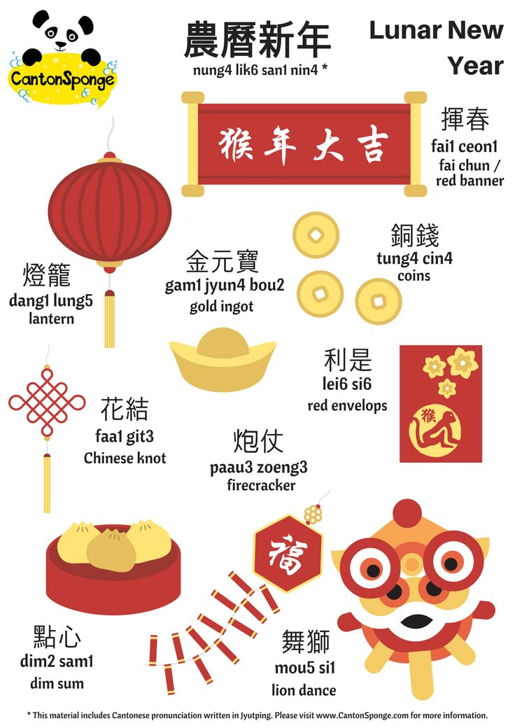 Bilingual (English - Chinese) Lunar New Year Poster with clear #Cantonese Jyutping romanization. To learn more Cantonese: www.cantonsponge.com.