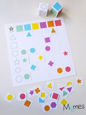 Voici un tableau à double entrée sous forme de jeu de dés à imprimer ! Un dé de formes, un dé de couleur et un tableau sur lequel placer les bonnes vignettes aux bons endroits !