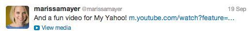 Marissa Mayer, CEO de Yahoo!, ha decidido utilizar las posibilidades del microbloggin para lograr que sus seguidores se enamoren de los servicios de su empresa. Ella es una de las personas del equi...