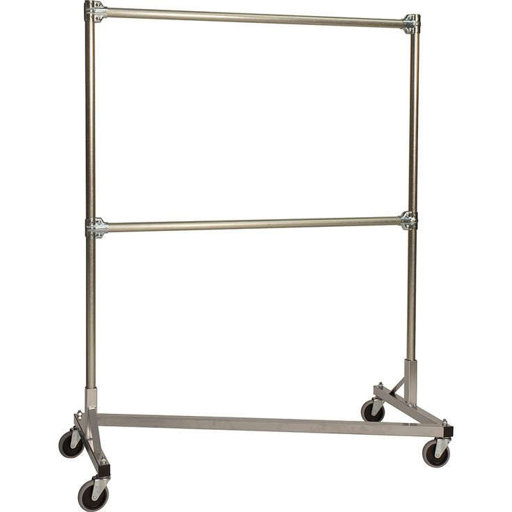 "Quality Fabricators Silver Z-Rack, Heavy Duty Clothes Rack 48"" L x 60"" Uprights, Double Rail 248602S"