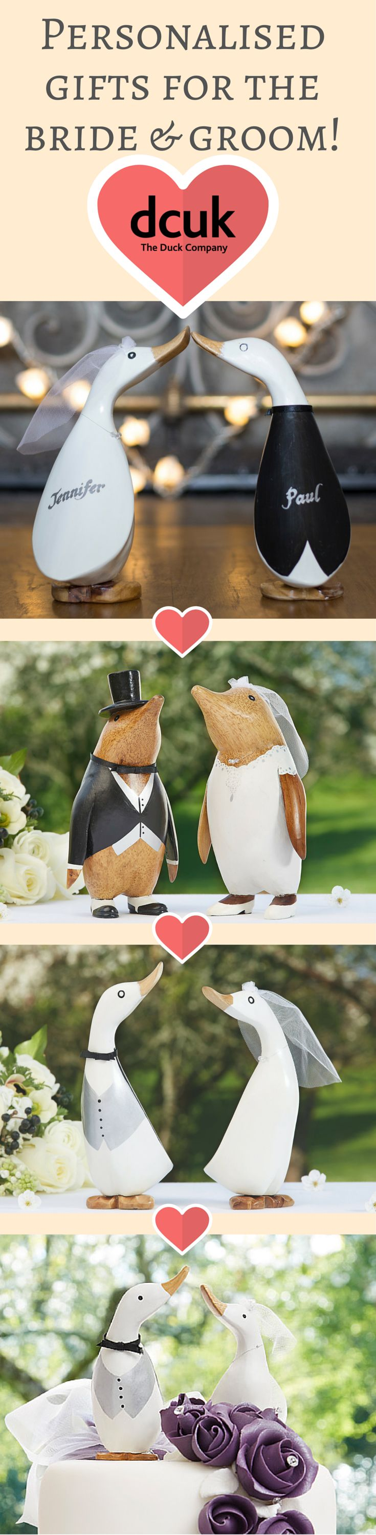 If you are looking for the perfect gift for the perfect couple, our personalised bride and groom gift ducks and penguins are bound to impress! Each is hand carved and hand painted, and can be personalised with the name of the bride and groom. Beautifully presented in a gift box - a lasting reminder of their happy day for years to come! Available in a variety of styles, and we have bride and groom cake toppers too! Please take a look at our Wedding gift selection on our website!