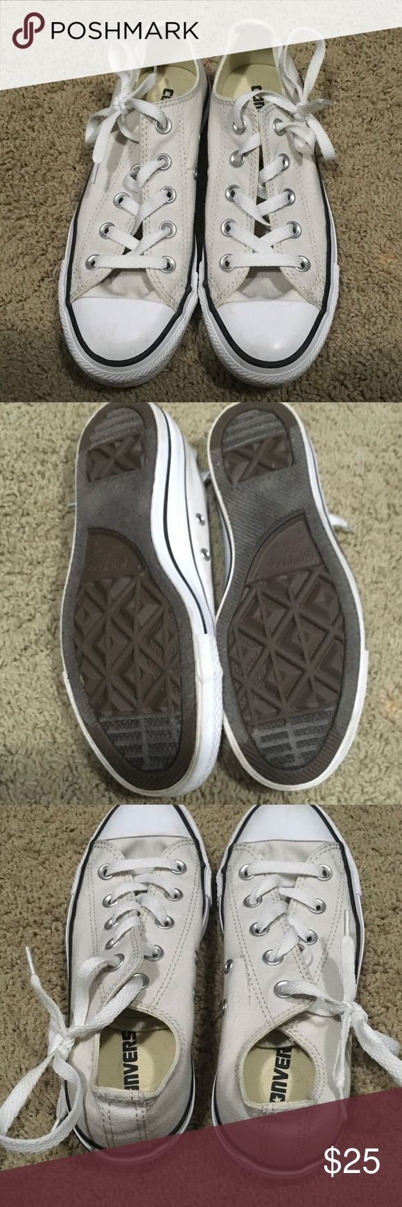 Cream converse Chuck Taylors, EUC Converse Shoes Athletic Shoes