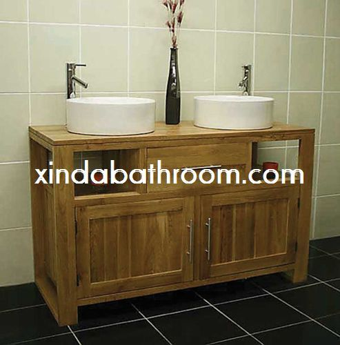 Photos On Xinda Bathroom Cabinet Co LTD provide the reliable quality solid wood double sink bathroom