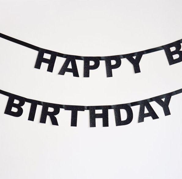 Little Girlande Happy Birthday schwarz bei www.party-princess.de