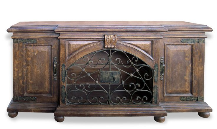 This hand painted old world sideboard has wrought iron and